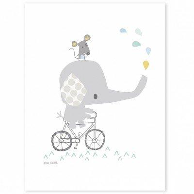 Lilipinso Póster Elefantes, Papel, Gris, 30x 0,1x 40cm
