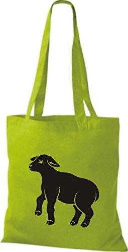 Schäfchen Shirtstown Schaf Tiere Lime Stoffbeutel wPP4X