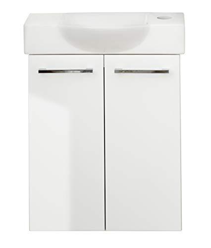 FACKELMANN LINO Gäste WC Badmöbel Set 2 Teile/Keramik Waschbecken/Waschbeckenunterschrank mit 2 Türen/hochwertiger Badschrank mit Soft-Close/Korpus: Weiß/Front: Weiß/Breite: 52 cm -