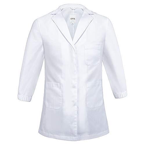 Icertag Camice da Laboratorio per Bambini Cappotto Medico Cappotto Ambito Medico con Bottoni di Sicurezza Abito Cotone Bianco Unisex per Bambini