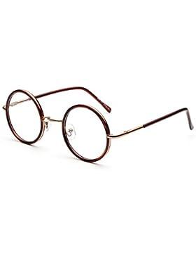 Yefree Glasses for Men Women - Lente transparente Gafas de moda retro Gafas de metal redondas