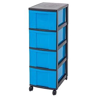 Unbekannt IRIS Schubladenbox mit Rollen, Kunststoff, blau/schwarz (4 große) - Schubladenschrank Schubladen-Container stapelbar Rollwagen Rollcontainer Werkzeugschrank Keller