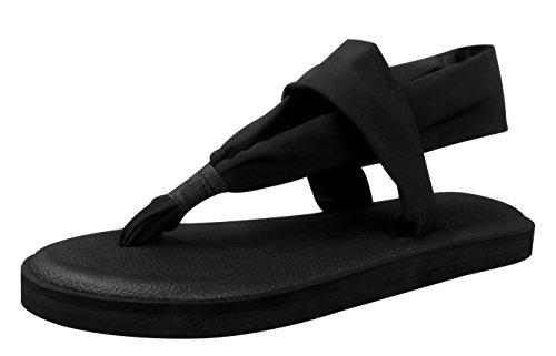 Santiro Femmes Tongs Chaussons Chaussures Léger Yoga Mat Sole Plat Slingback SSD001B1-37