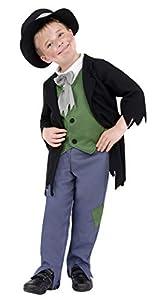 Smiffys-38671M Disfraz de granuja Victoriano, con Top, Pantalones y Gorro, Color Negro, M-Edad 7-9 años (Smiffy
