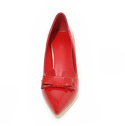 VogueZone009 Femme à Talon Correct Couleur Unie Tire Verni Pointu Chaussures Légeres Rouge