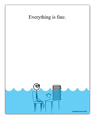 """Bloc de papel con texto en inglés """"Everything is fine"""" (10,8 x 14 cm, 50hojas, para oficina y escritorio, regalo para el jefe o colega)"""