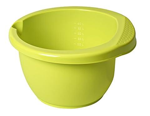 Rotho 1707905070 Rührschüssel Onda mit ergonomischem Griff, Antirutsch-Gummiring, Ausgussmulde, Inhalt 4 L, circa 28,5 x 28 x 16,5 cm, lime grün, Kunststoff / PP