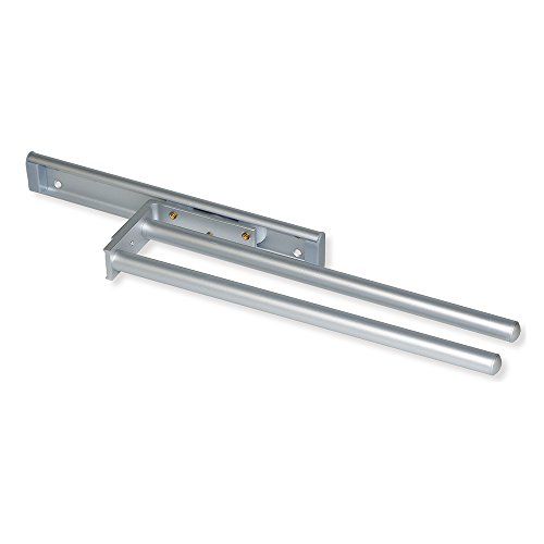 Emuca 7086862 Ausziehbarer Handtuchhalter mit 2 Armen Länge 310mm aus matt eloxiertem Aluminium