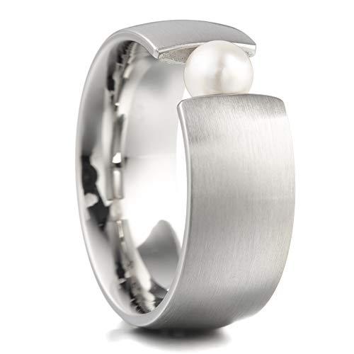 Heideman Ring Damen aus Edelstahl Silber farbend Strich matt Damenring für Frauen mit Swarovski Perle Weiss rund 6mm