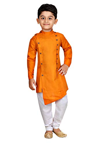 Kashvi Boy's Cotton Kurta Pyjama Dress Sett (Orange, 6-7 Years)