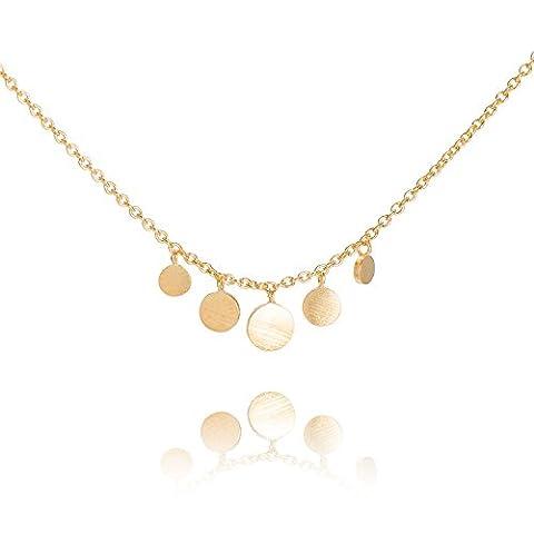 Pernille Corydon Damen Halskette Mini Coin - Kette runde Anhänger Silber vergoldet - N007g