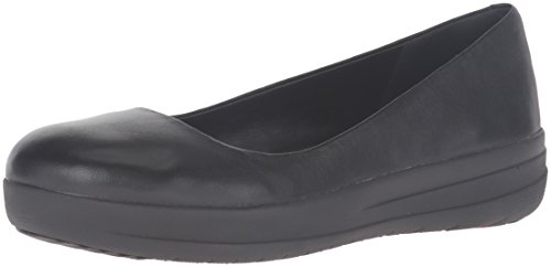 FitFlopTM F-Sporty Ballerina- Women's Loafer Shoes in Black Leather 4.5 Black