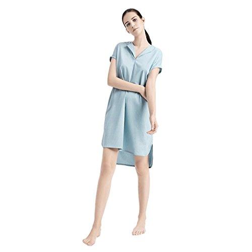 Pigiami di servizio domestico del manicotto del cotone delle signore di estate ( Colore : Blu , dimensioni : Xl ) Blu