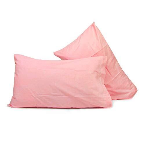 Liabel_ coppia federe in cotone tinta unita 50x80cm rosa
