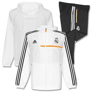 Adidas Real Pres Suit – Survêtement de football pour homme, Blanc/Orange, Homme, REAL PRES SUIT, Blanc / Orange