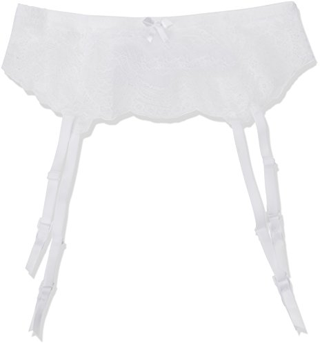 #Palmers Damen Strumpfhalter Ornamental Lace Srumpfbandgürtel, Weiß (Weiß 100), 40 (Herstellergröße: L)#