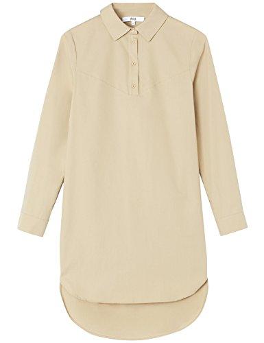 FIND Damen Langärmeliges Kleid mit Hemdkragen Braun (Khaki)