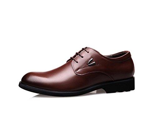 HYLM New England / pattini di cuoio di affari / chiusura rotonda del merletto / pattini di cerimonia nuziale scarpe casuali di grande formato Brown