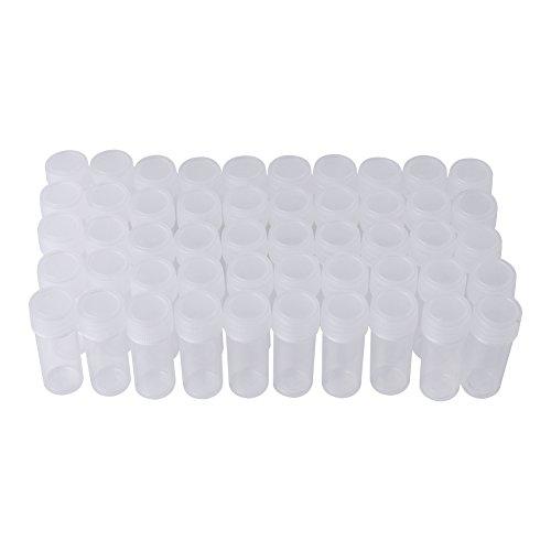 FTVOGUE 50 Stücke 5 ml Volumen Kunststoff Probe Transparente Flaschen Gute Abdichtung Kleine Vorratsbehälter