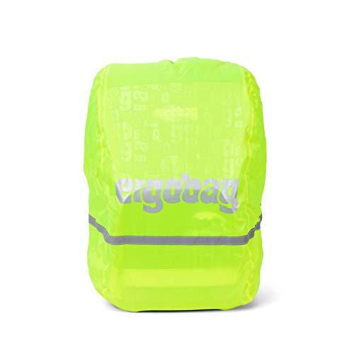 Ergobag Regencape für Schulrucksäcke, wasserdicht, Leuchtfarben, Reflektoren, Gummizug, Gelb Glow