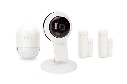ednet Smart Alarm Starter Kit Security, App, HD 720p Innenkamera, Bewegungssensor und 2x Kontaktsensor Starter Kit Handy