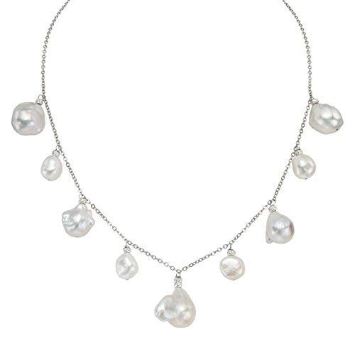 Pearlyta Frauen Sterling Silber 925 Weiß kultiviert Süßwasser Souffle Perle 11-20mm Kette Halskette 13 Souffle