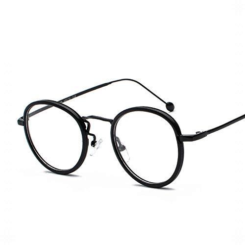 UICICI Retro Runde Brillenfassung Brillenglas Brillenglas, Breite 47mm (Farbe : Black Frame)