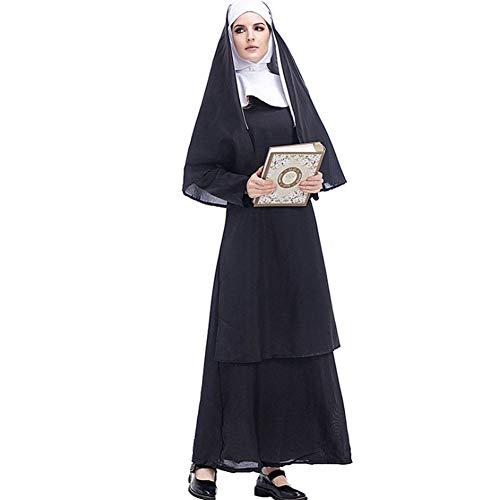 Männlich Nonne Kostüm - AIYA Halloween Kostüm Cos Jesus Christus männlich Missionar Priester Kostüm Priester Marian Nonne Kostüm Rollenspiel