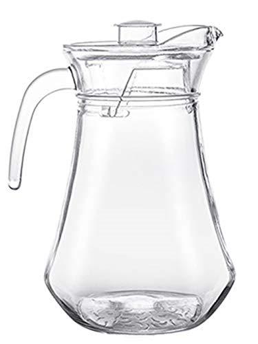 1,5 l Glaswasserkrug, eiskalte Saftkaraffe mit Staubschutzdeckel und Griff, Borosilikatglas-Kanne für Rotwein, Wein, Saft, Milch, eiskaltes Wasser, heißen Kaffee