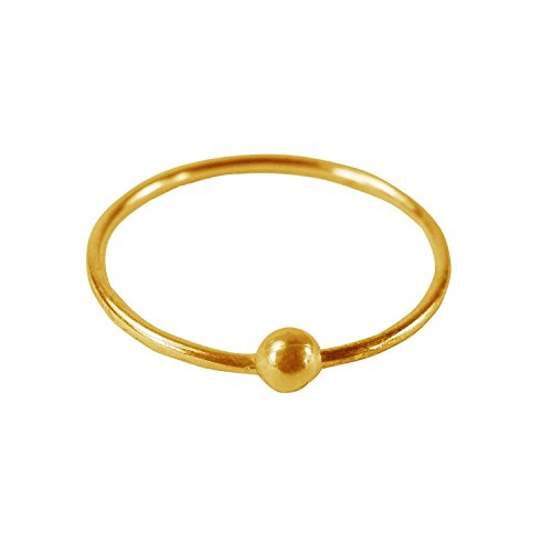 Eloish Shiny Classic Ball Simple Plain Gold Ball Nose Ring. Ball Plain Shinny Gold Nose Ring.