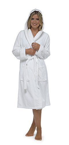 Best Deals Direct Insignia Damen Bademantel Frottee Spa Hotel 100% Baumwolle Robe - weiß mit Kapuze, Medium (Medium Frottee)