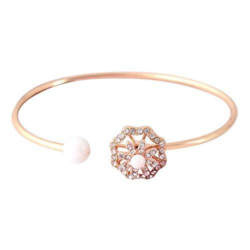 Qiuday Perle Blume Diamant mit einem rotierenden Armband verkrustet kann das Armband anpassen Anpassen Freundschaft Brautjungfer Geschenk Schmuck Armreif Manschette Bettelarmband -
