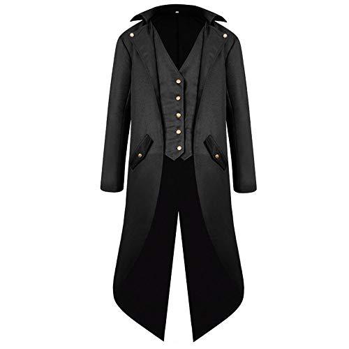 NWZSM Herren Vintage Langarm schwarz Tailcoat Jacke Viktorianisch Steampunk Halloween Cosplay Kostüm - schwarz - XXX-Large (3xl Männer Halloween-kostüme)