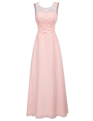 GRACE KARIN rosa maxikleid ohne ärmel Homecoming Kleid Damen brautkleid Spitze Abschlussballkleid 40 CL670-3 (Rosa Ein ärmel Kleid)