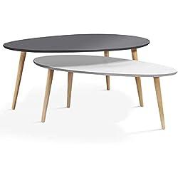 IDMarket - Lot de 2 Tables Basses gigognes laquées PM Blanc GM Gris scandinave