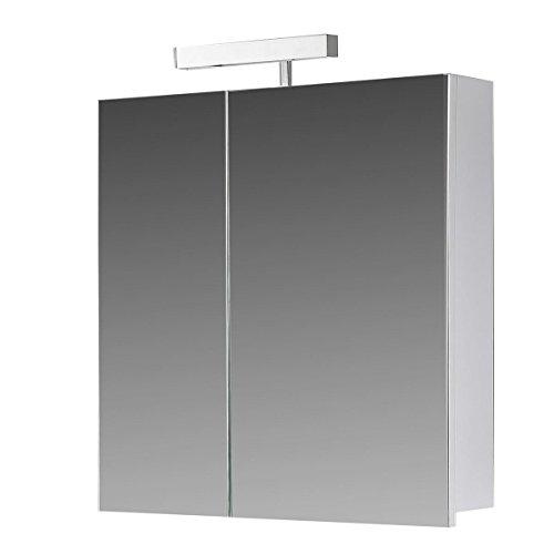 #Eurosan 2-türiger Spiegelschrank, Superflach, Halogenaufsatzleuchte, Breite 60 cm, Weiß, Berlin, B60#