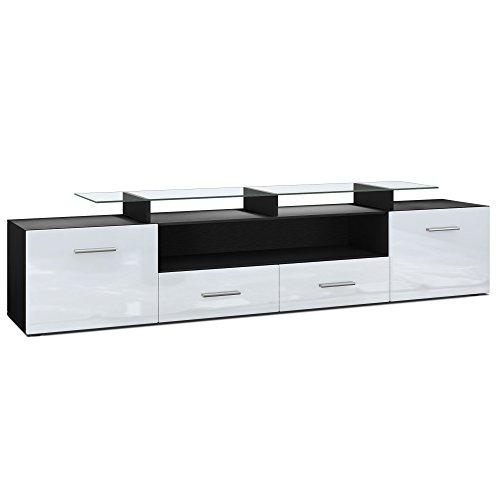 Vladon Meuble TV bas Almada V2, Corps en Noir mat/Façades en Blanc haute brillance