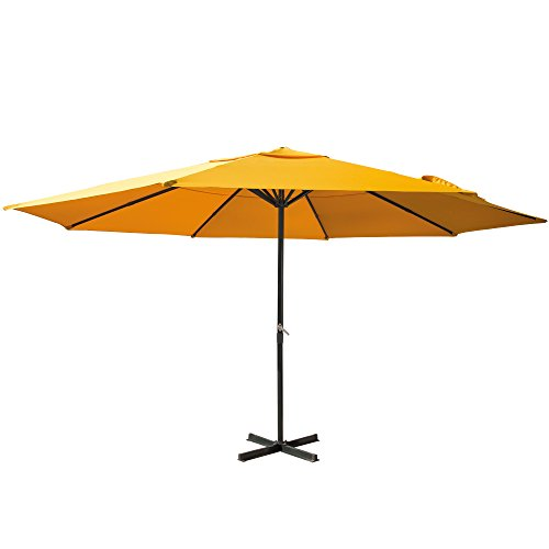 PARAMONDO Paragrandi Parasol | Parasol droit | Grand parasol en alu Ø5m (rond / jaune) | Armature avec pied parasol (anthracite)