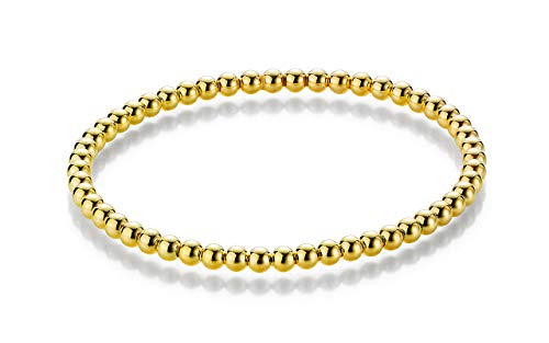 YDF Kugelarmband Flexibel 4 mm Länge 17 cm 925 Sterlingsilber Gelbvergoldet Dehnbar Elastisch Premium Qualität (Für Unter $5 Frauen Diamant-ringe)
