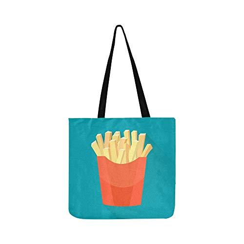 Hand zeichnen französisch fries kartoffel leinwand tote handtasche umhängetasche crossbody taschen geldbörsen für männer und frauen einkaufen tote
