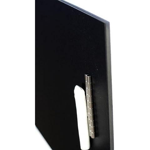 Tablón magnético de acero inoxidable | hoja negro recubierto | 110 cm x 30 cm
