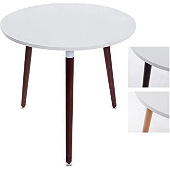 dieser artikel clp design ess tisch ansgar kchentisch rund 80 cm dreibein holz mit bodenschoner tischplatte wei gestell cappuccino - Kuchentisch Rund 80 Cm