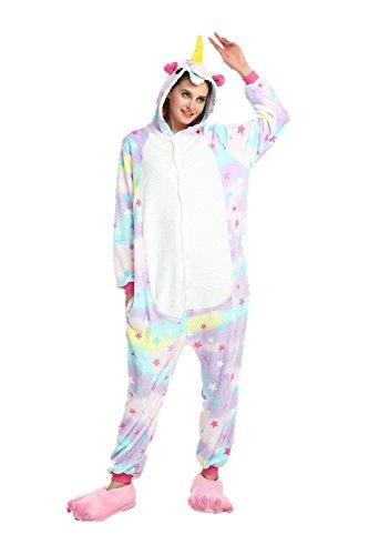 oamore Einhorn Pyjama Cartoon Tiere Pyjama Cosplay Kostüme Flanell Jumpsuits Unisex Erwachsene Kinder Nachtwäsche Party Kostüme (Star, M)