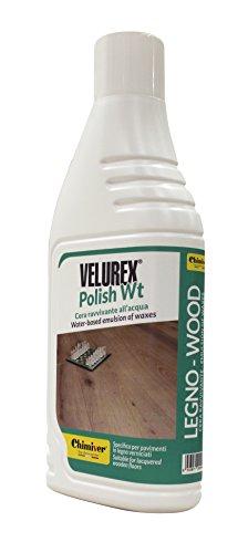 Chimiver® - velurex® polish wt   cera all'acqua ravvivante per la manutenzione di pavimento in legno verniciati. grazie alla sua composizione è adatta anche a pavimenti in gomma, vinilici, linoleum, marmo, resina, etc. flacone da 1l.
