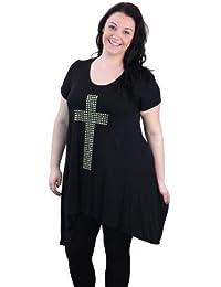 Plus Size Cap Sleeve Studded Cross Top