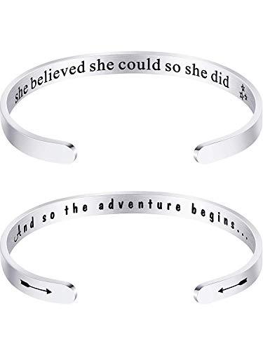 Inspirational Alphabet Innere Graviert Armreif Manschette Armband für Junge Frauen Mädchen Jubiläum Edelstahl