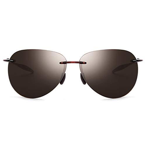 Yiph-Sunglass Sonnenbrillen Mode Stilvolle männer Polarisierte Sonnenbrille Frameless Design TR90 UV Schutz Sonnenbrille Für Fahren Baseball Laufen Radfahren Angeln Golf. (Farbe : Tea)