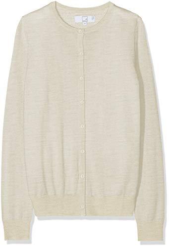 MERAKI Merino Strickjacke Damen mit Rundhals, Beige (Oatmeal), 42 (Herstellergröße: X-Large) - Merino-strickjacke