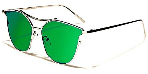 Giselle Sonnenbrillen Mode Modisch Fashion Strand Stadt Cat Eye Flat Lens/Sydney Grün Irisierend Spiegel