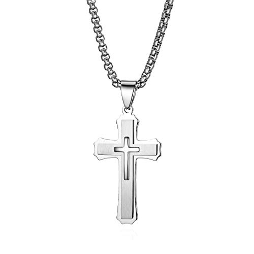 JewelryWe Herren Halskette, Edelstahl Klassisch Kreuz Anhänger mit 22 Zoll Kette, Silber, mit kostenloser Gravur
